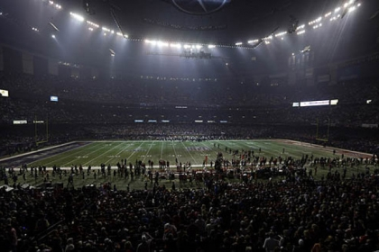 Half the lights are out in the Superdome during a power outage in the second half of Super Bowl XLVII between the San Francisco 49ers and Baltimore Ravens in New Orleans.