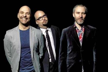 The Bad Plus jazz trio -- from left, David King, Ethan Iverson and Reid Anderson -- demonstrated their musical dexterity during Saturday concert at the Manchester Craftsmen&#039;s Guild.