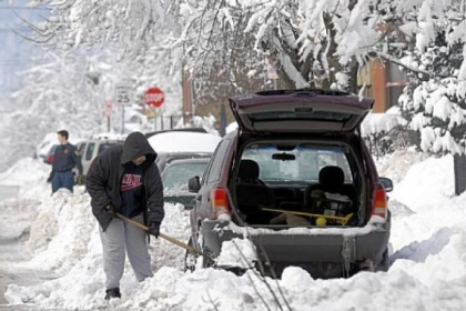 "Three years ago today, snow began falling in the record-breaking blizzard of Feb. 5 and 6, 2010. During ""Snowmageddon,"" Rick Lewis shoveled out his car in the 1100 block of West North Avenue in the city's Manchester neighborhood."
