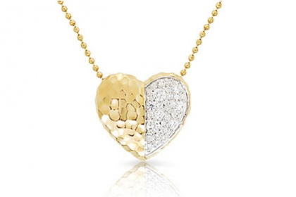 Yellow gold and diamond heart necklace, $2,000.