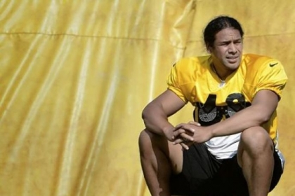 Pittsburgh Steelers Troy Polamalu takes a break  during August workouts at training camp at St Vincent College in Latrobe.