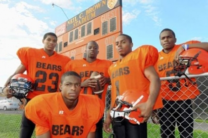 Former Clairton Bears Titus Howard (front), from left, Tyler Boyd, Armani Ford, Tyus Booker and Terrish Webb.