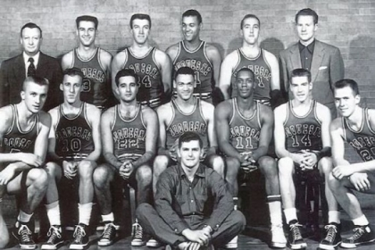 Ralph Leng, far right on the front row, was a member of Duquesne&#039;s 1955 NIT championship team. While mostly a practice player, Mr. Leng was tasked with going up against future NBA No. 1 draft pick Sihugo Green (No. 11), front row.
