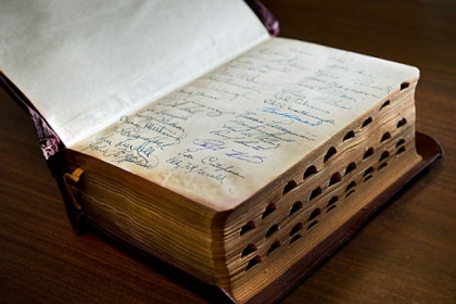 A rare Bible autographed by the members of the Pittsburgh Pirates baseball team is displayed at the Book Den in Sacramento, Calif.
