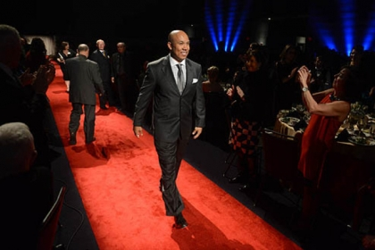 Former Steeler wide receiver Hines Ward walks the red carpet.