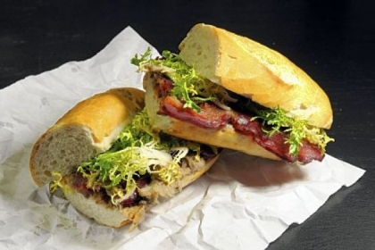 Thin Man Sandwich Shop in the Strip District and their Thin Man Sandwich: with chicken liver mousse and Penn's Corner Bacon.