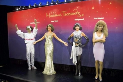 Whitney Houston wax figures are unveiled at Madame Tussauds in New York.