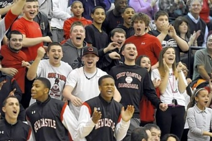 New Castle students cheer on their team as they take on Seneca Valley Jan. 29. The Red Hurricanes are 20-0 and ranked No.1 in WPIAL Class AAAA.
