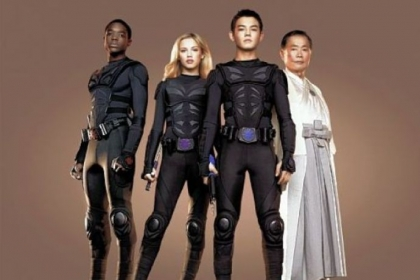 "Carlos Knight, left, Gracie Dzienny and Ryan Potter are ""Supah Ninjas,"" under the guidance of George Takei, on Nickelodeon."