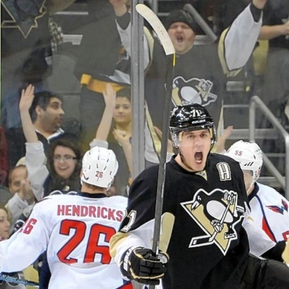 The Penguins' Evgeni Malkin celebrates his goal in the second period Thursday against the Capitals at Consol Energy Center.