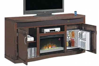 The Twin-Star Classic Flame media console with heat producing fireplace and refrigerator.