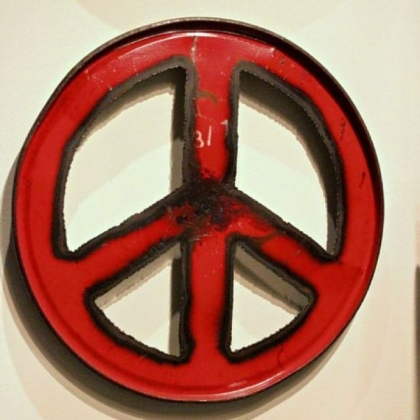 Peace wall art from the Moonshine Collection by Groovystuff, made from recycled steel drums.