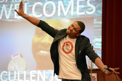 Olympic swimmer Cullen Jones shares the story of how he almost drowned at age 5 to students of Pittsburgh Obama 6-12 School in East Liberty, one of several stops he made in the city on Friday.