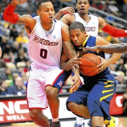 Senior center Andre Marhold is one of several underclassmen first-year coach Jim Ferry has been disappointed with throughout Duquesne's 10-game losing streak.