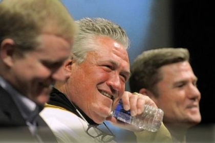 Neal Huntington, Clint Hurdle and Frank Coonelly, answer questions at the Ask Pirates Management at PirateFest at the David L. Lawrence Convention Center.