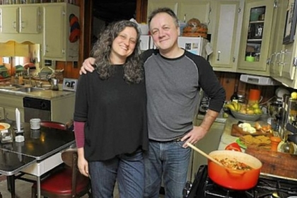 Rick Schweikert and his wife Sherrie Flick share prep and cooking in their South Side Slopes home