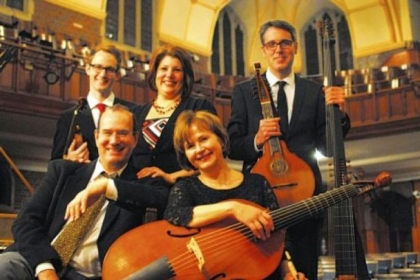 Left front, harpsichordist Andrew Appel and viola da gamba player Patricia Halverson; back; baroque violinist Andrew Fouts, soprano Laura Heimes and lutenist Scott Pauley.