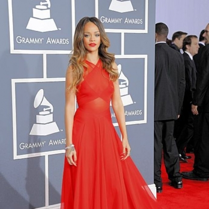 Rihanna got it right in red at the 55th annual Grammy Awards.