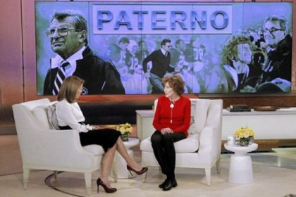 "Sue Paterno, widow of football coach Joe Paterno, right, with Katie Couric at the ""Katie"" show Feb. 6 in New York."