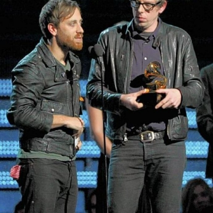 "Musicians Dan Auerbach, left, and Patrick Carney of the Black Keys won Grammys for Rock Album, ""El Camino,"" and Rock Song and Rock Performance for ""Lonely Boy."""