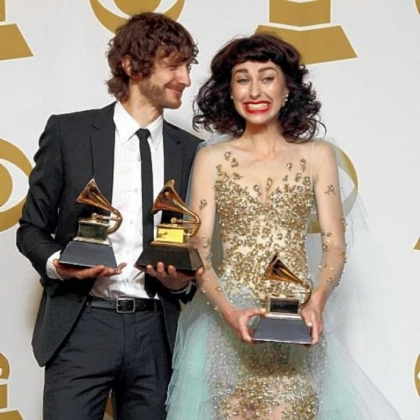 "Gotye, left, and Kimbra won Pop Duo/Group Performance for ""Somebody That I Used to Know."""