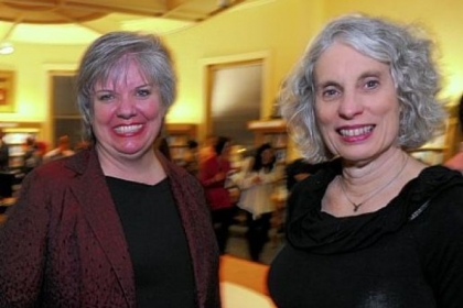 Deputy Director Sue Banks, left, and Mary Frances Cooper, president of Carnegie Library.