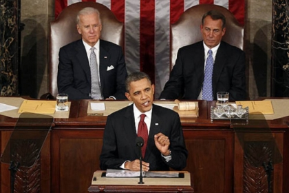 President Barack Obama giving his State of the Union address in 2008.