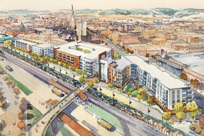 An artist rendering of the East Liberty Transit Center Project.