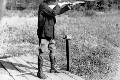 President Calvin Coolidge, a straight shooter, hit 29 of 37 clay pigeons during this outing at his vacation home in Wisconsin.
