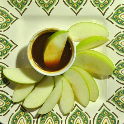 Fresh Apple Slices with Homemade Caramel.