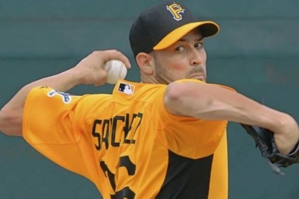 Newcomer Jonathan Sanchez took his first turn on a mound Wednesday at Pirate City in Bradenton, Fla.
