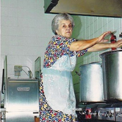 St. Nicholas Serbian Church member, Violet Jokola, making soup.