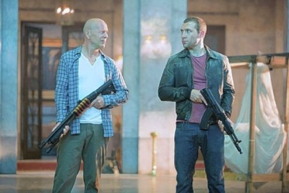"Bruce Willis and Jai Courtney unexpectedly join forces in Moscow and beyond in ""A Good Day to Die Hard."""