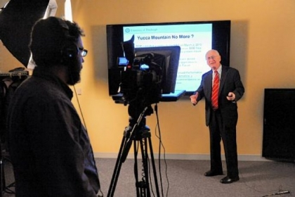 "Professor Larry Foulke records ""A Look at Nuclear Science and Technology,"" a free online class being offered by the University of Pittsburgh."