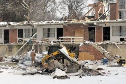 Demolition is under way at Sewickley Country Inn on Route 65.