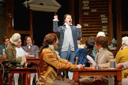 George Merrick portrays the pugnacious John Adams in Public Theater&#039;s &quot;1776.&quot;