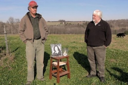 Organic farmer Stephen Cleghorn and Ben Price from Community Environmental Legal Defense Fund, on his goat farm near Reynoldsville, Jefferson County, during the memorial service for Mr. Cleghorn's wife, who recently died of cancer.