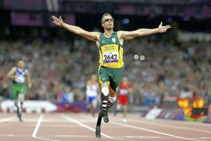 South Africa's Oscar Pistorius wins gold in the men's 400-meter T44 final at the 2012 Paralympics, in London on Sept. 8, 2012.