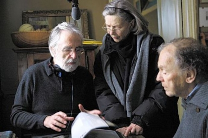 "Director Michael Haneke, Emmanuelle Riva and Jean-Louis Trintignant on the set of ""Amour."""