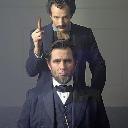 "Billy Campbell as Abraham Lincoln and Jesse Johnson as John Wilkes Booth in the National Geographic television film ""Killing Lincoln."""