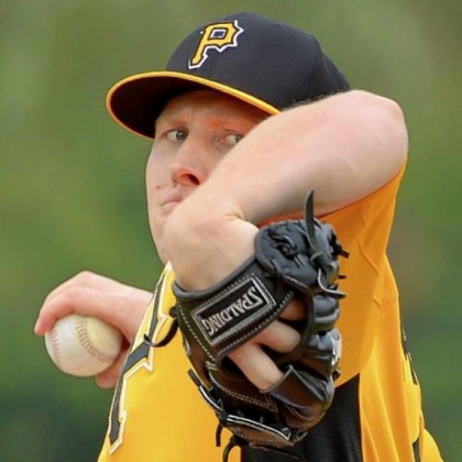 Pirates right hander Mark Melancon delivers during workouts at Pirate City in Bradenton, Florida.