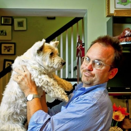 Homemaking columnist Peter McKay and dog Harry.