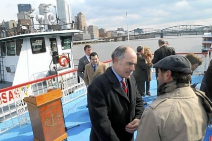 Sen. Bob Casey meets with supporters Friday after announcing he will introduce legislation to provide more money for aging locks and dams.