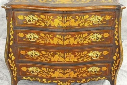 Dutch marquetry inlaid chest stood for many years in the front of River House Antiques.