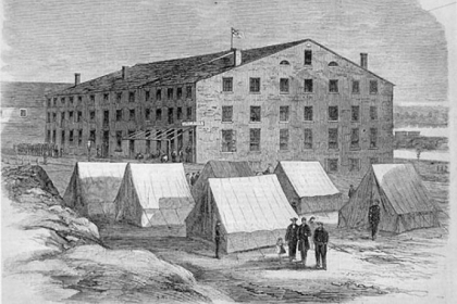 Libby Prison, a former tobacco warehouse in Richmond,  Va., where Josiah Copley Jr. was kept as a prisoner of war.