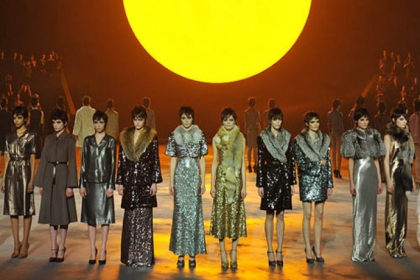 Models wear designs by Marc Jacobs during the Mercedes-Benz Fashion Week Fall 2013 collections.