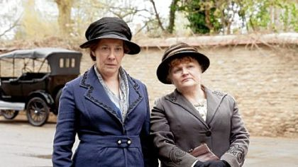 "Phyliis Logan as Mrs. Hughes and Lesley Nicol as Mrs. Patmore in ""Downton Abbey,"" Season 3."