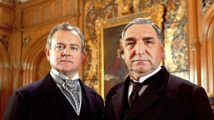 Hugh Bonneville as Lord Grantham and Jim Carter as Mr. Carson in &quot;Downton Abbey,&quot; Season 3.