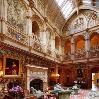 The main room off the central staircase at Highclere Castle.