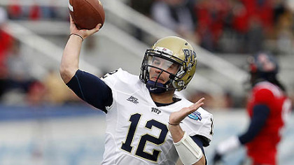 Pitt quarterback Tino Sunseri warms up before the BBVA Compass Bowl against Mississipi.